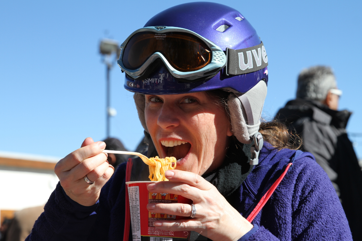 Photo of woman eating Shin Ramyun